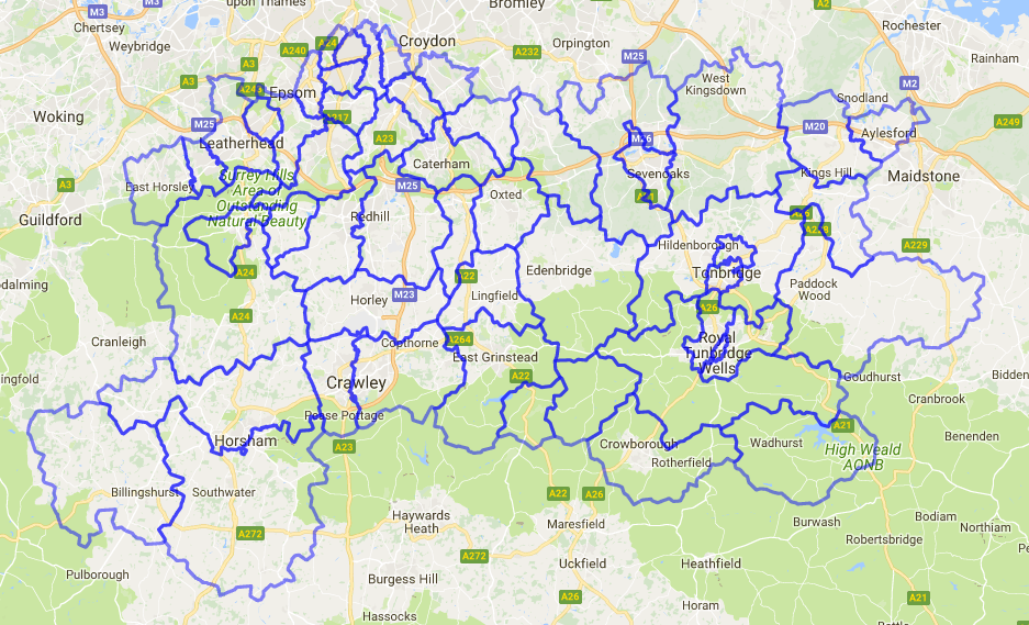 Map of Sussex, Surrey and Kent
